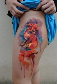 大腿水彩风格的红色狐狸纹身图案