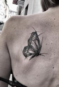 背部蝴蝶钢笔画风格纹身图案