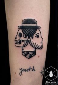 有趣的点刺人脸骷髅组合手臂纹身图案