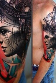 手臂令人难以置信女性肖像与船舶和帆船纹身图案