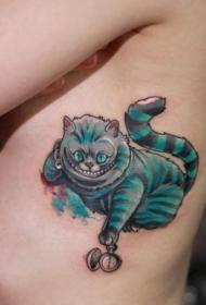 侧肋3D风格有趣的幻想猫纹身图案