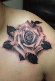 肩部逼真的3D玫瑰花个性纹身图案