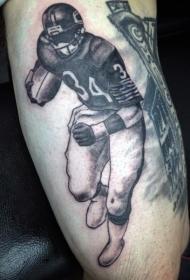 黑灰风格的美国足球运动员纹身图案