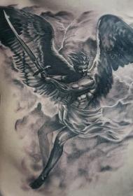 侧肋黑白愤怒天使战士和闪电纹身图案