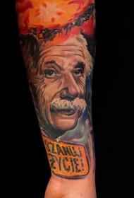 写实风格的彩色爱因斯坦肖像字母手臂纹身图案