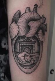 old school黑色墨水心形与睡眠猫手臂纹身图案