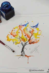 欧美泼墨树纹身图案手稿