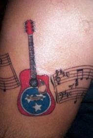 美国风格的吉他与音符纹身图案