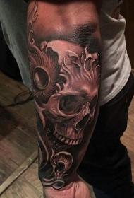 手臂可怕的幻想骷髅纹身图案