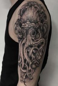 大臂很酷的3D风格章鱼纹身图案