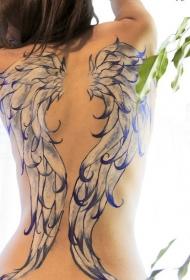 背部美丽的天使翅膀彩绘纹身图案