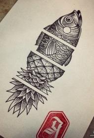 个性鱼和菠萝结合点刺纹身图案手稿
