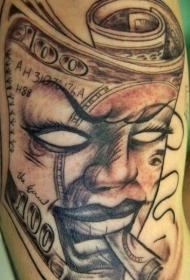很酷的吸烟恶魔脸与纸币手臂纹身图案