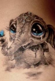 手臂3D风格可爱的小象与蝴蝶纹身图案
