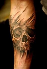 手臂3D黑白骷髅个性纹身图案