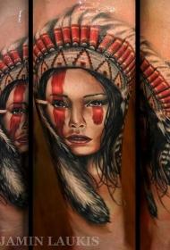手臂3D风格逼真的彩色美丽印度女人纹身图案