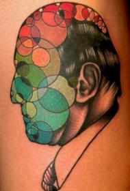 抽象风格的男性头像结合圆圈彩色纹身图案