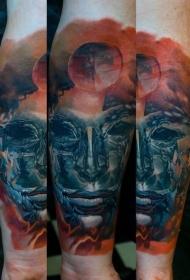 梦幻风格的面具与行星彩色手臂纹身图案