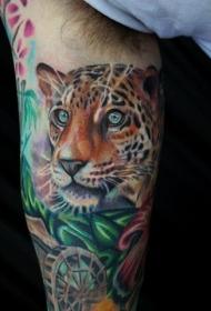 超级逼真的豹头和植物手臂纹身图案