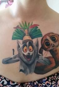 疯狂的卡通动物丰富多彩胸部纹身图案