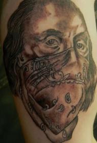 独特设计的彩色美国人暴徒手臂纹身图案