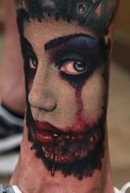 小腿毛骨悚然的血腥怪物女人手臂纹身图案