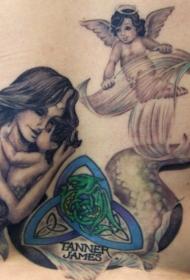 小天使和美人鱼母子纹身图案