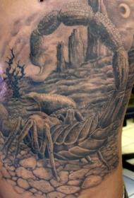 神奇的蝎子在沙漠纹身图案