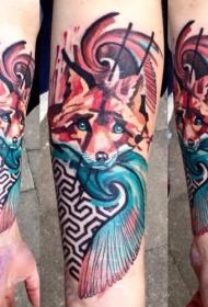 手臂水彩风格的可爱狐狸纹身图案