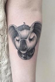 手臂有趣的愤怒考拉熊头像纹身图案