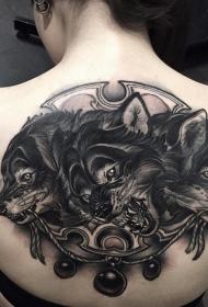 女生背部黑灰欧美三头犬纹身图案