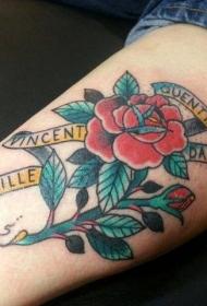 美式经典字母和玫瑰纹身图案