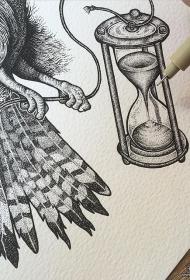 欧美点刺沙漏纹身图案手稿