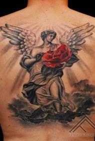 红色玫瑰和黑白天使雕像纹身图案