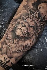 手臂欧美写实狮子纹身图案