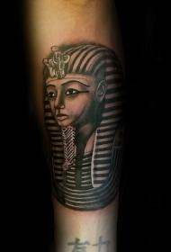 埃及法老雕像彩色手臂纹身图案