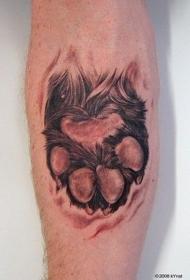 非常逼真的彩色动物爪印手臂纹身图案