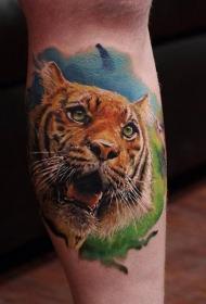小腿彩色的3D老虎纹身图案