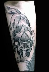 雕刻风格黑色点刺狼手臂纹身图案