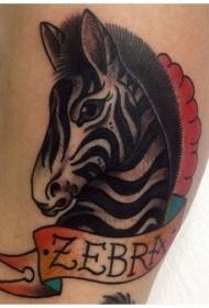 彩色的斑马头和字母小腿纹身图案