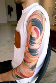 手臂上的惊人抽象色彩纹身图案