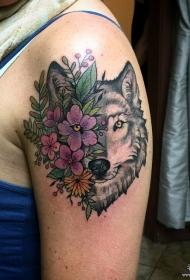 大臂欧美狼头花卉彩绘纹身图案
