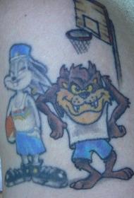 彩色卡通动物打篮球纹身图案