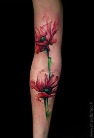 手臂多彩色美丽的花朵纹身图案