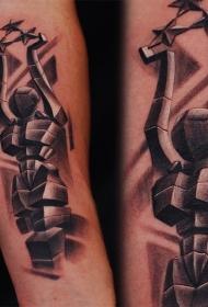 人形石雕像和星星手臂纹身图案