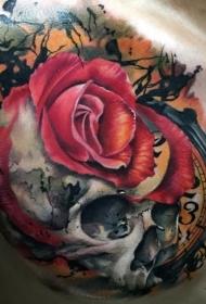 胸部3D风格的骷髅玫瑰和时钟纹身图案
