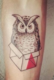 小臂猫头鹰盒子纹身图案