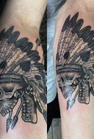 雕刻风格印度骷髅和箭头手臂纹身图案