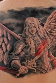 背部彩色的幻想天使战士纹身图案