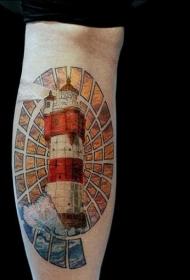 插画风格的彩色写实美丽灯塔手臂纹身图案